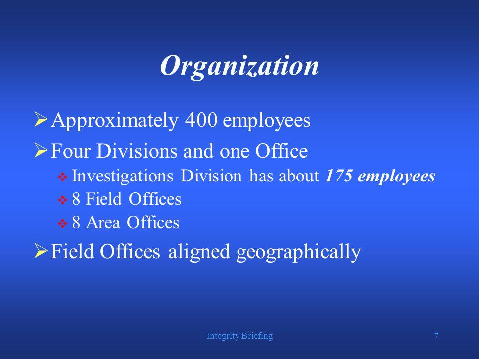 Integrity Briefing18 Allegations vs. Investigations All DOJ Components