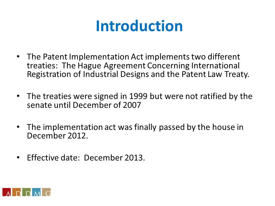Patent Law Treaty Implementation Provisions The Act amends 35 U.S.C.
