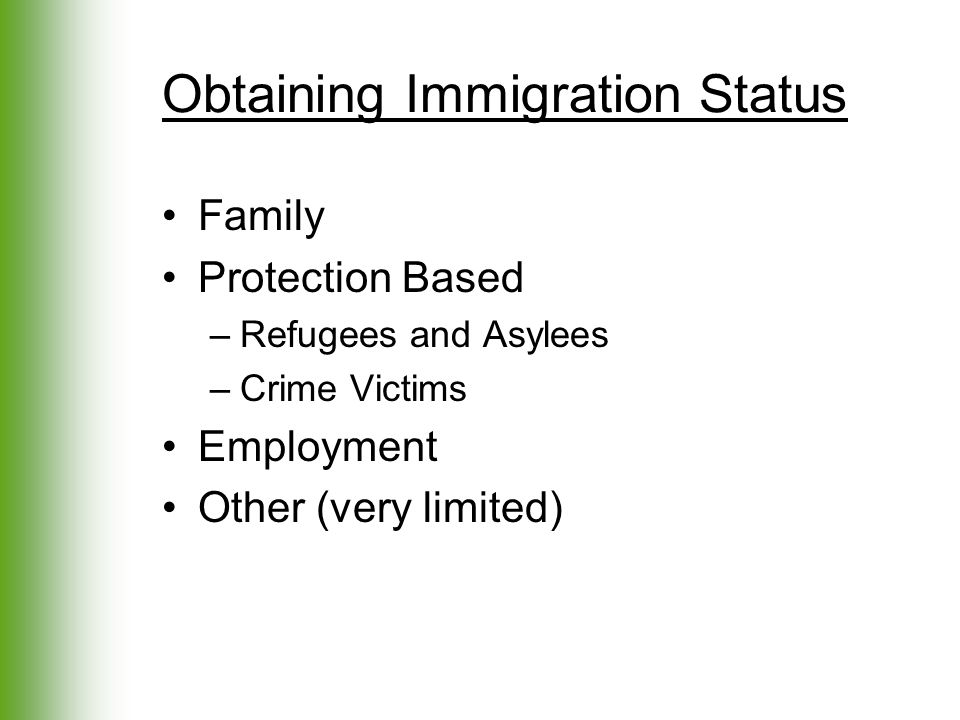 Obtaining Immigration Status Family Protection Based –Refugees and Asylees –Crime Victims Employment Other (very limited)