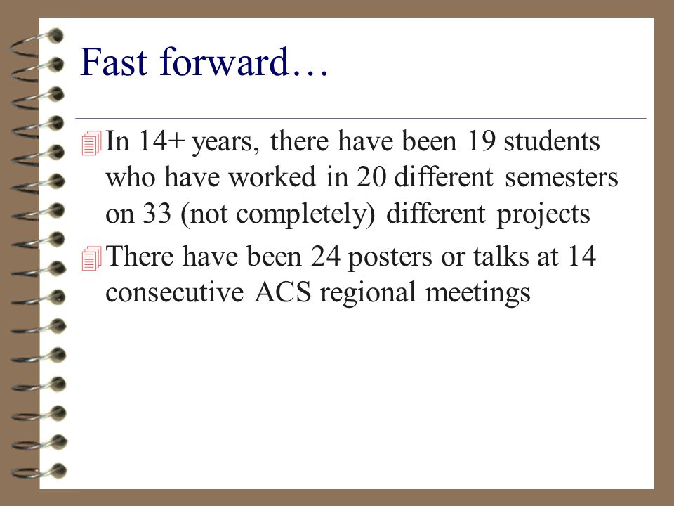 Fast forward… 4 In 14+ years, there have been 19 students who have worked in 20 different semesters on 33 (not completely) different projects 4 There have been 24 posters or talks at 14 consecutive ACS regional meetings