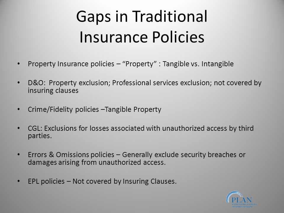 Gaps in Traditional Insurance Policies Property Insurance policies – Property : Tangible vs.