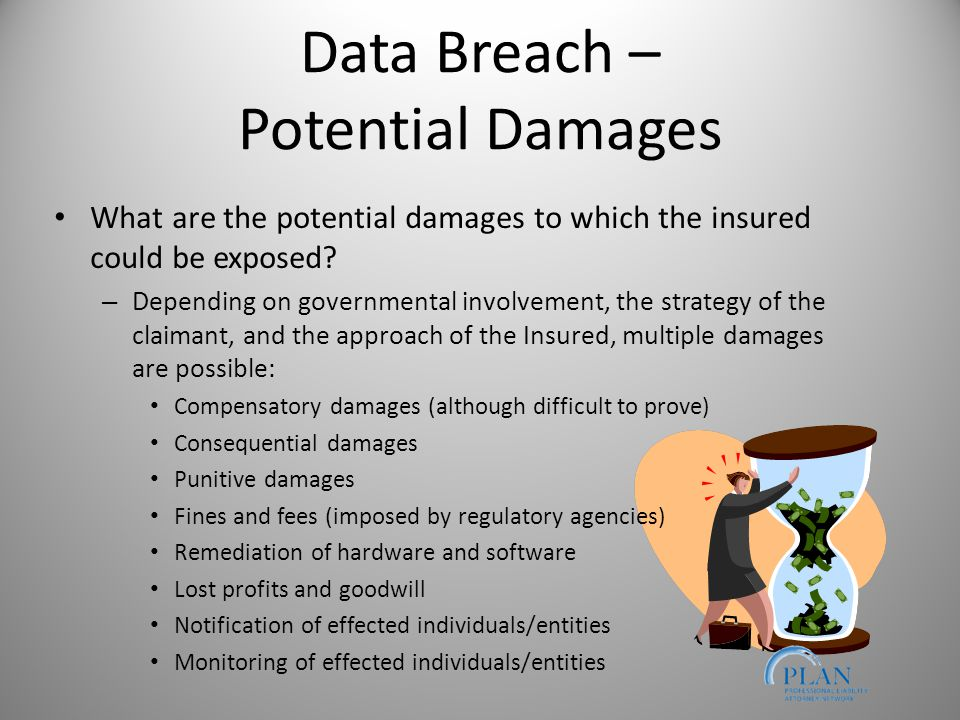 Data Breach – Potential Damages What are the potential damages to which the insured could be exposed.