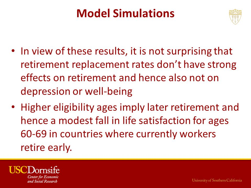 Model Simulations In view of these results, it is not surprising that retirement replacement rates don't have strong effects on retirement and hence also not on depression or well-being Higher eligibility ages imply later retirement and hence a modest fall in life satisfaction for ages 60-69 in countries where currently workers retire early.