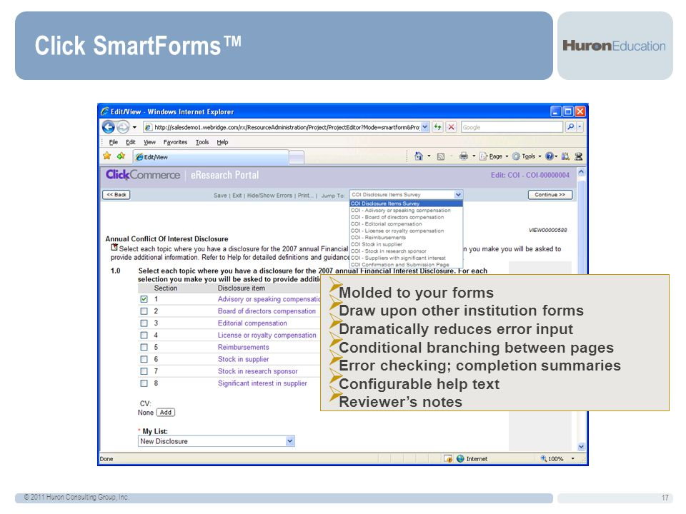 Click SmartForms™ 17 © 2011 Huron Consulting Group, Inc.