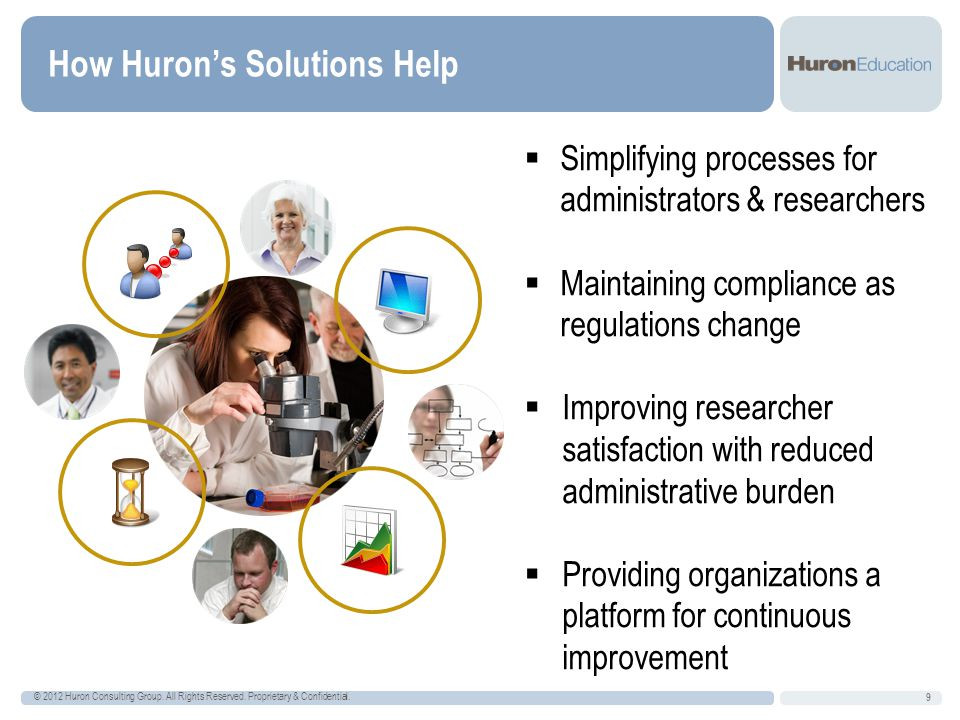 How Huron's Solutions Help 9 © 2012 Huron Consulting Group.