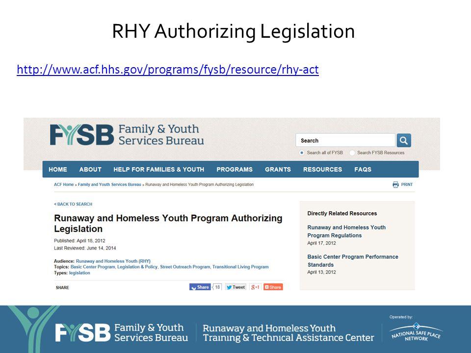 RHY Authorizing Legislation http://www.acf.hhs.gov/programs/fysb/resource/rhy-act