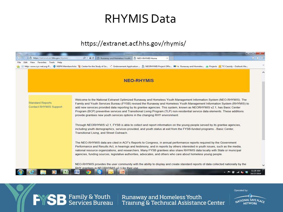 RHYMIS Data https://extranet.acf.hhs.gov/rhymis/