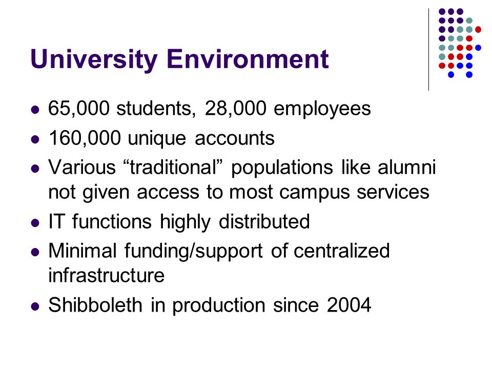 University Environment 65,000 students, 28,000 employees 160,000 unique accounts Various traditional populations like alumni not given access to most campus services IT functions highly distributed Minimal funding/support of centralized infrastructure Shibboleth in production since 2004