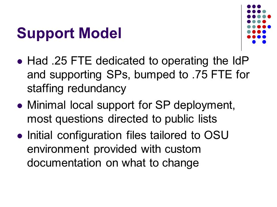Support Model Had.25 FTE dedicated to operating the IdP and supporting SPs, bumped to.75 FTE for staffing redundancy Minimal local support for SP depl