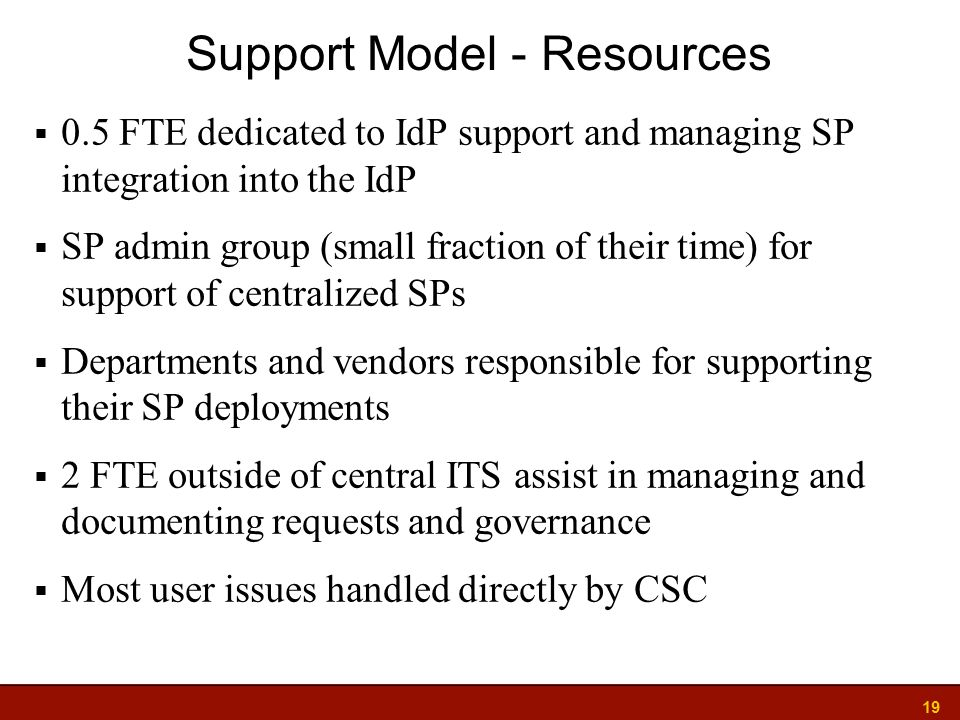 19  0.5 FTE dedicated to IdP support and managing SP integration into the IdP  SP admin group (small fraction of their time) for support of centralized SPs  Departments and vendors responsible for supporting their SP deployments  2 FTE outside of central ITS assist in managing and documenting requests and governance  Most user issues handled directly by CSC Support Model - Resources