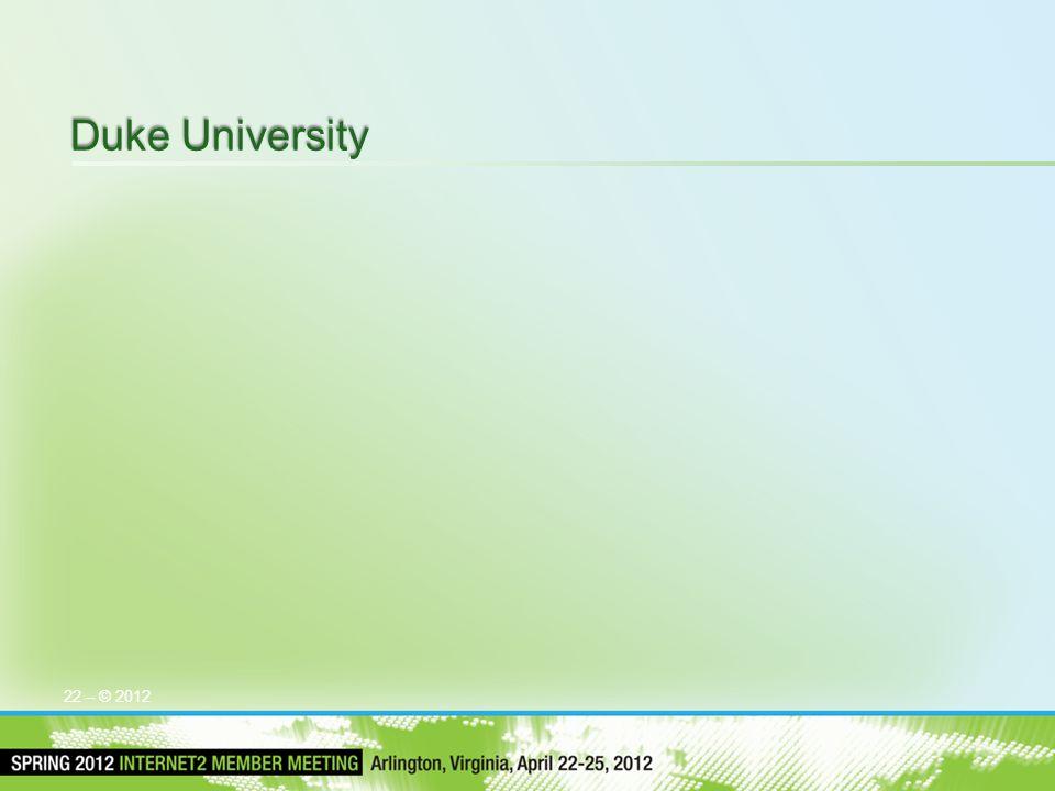 Duke University 22 – © 2012