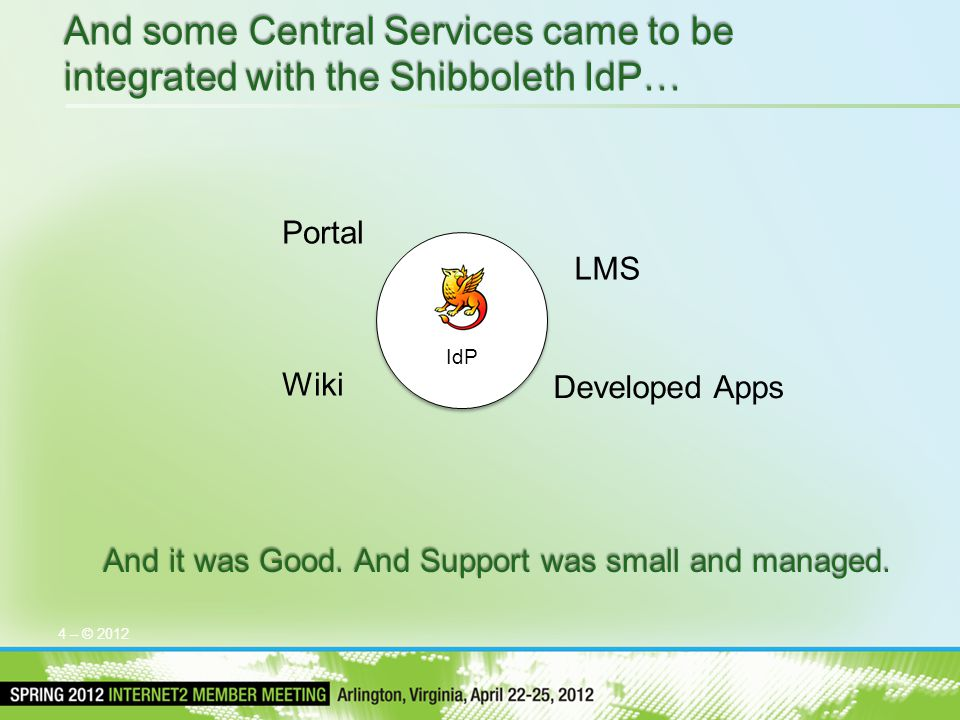 4 – © 2012 And some Central Services came to be integrated with the Shibboleth IdP… And it was Good. And Support was small and managed. IdP Portal LMS