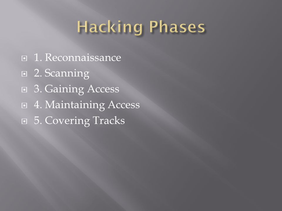  1. Reconnaissance  2. Scanning  3. Gaining Access  4. Maintaining Access  5. Covering Tracks