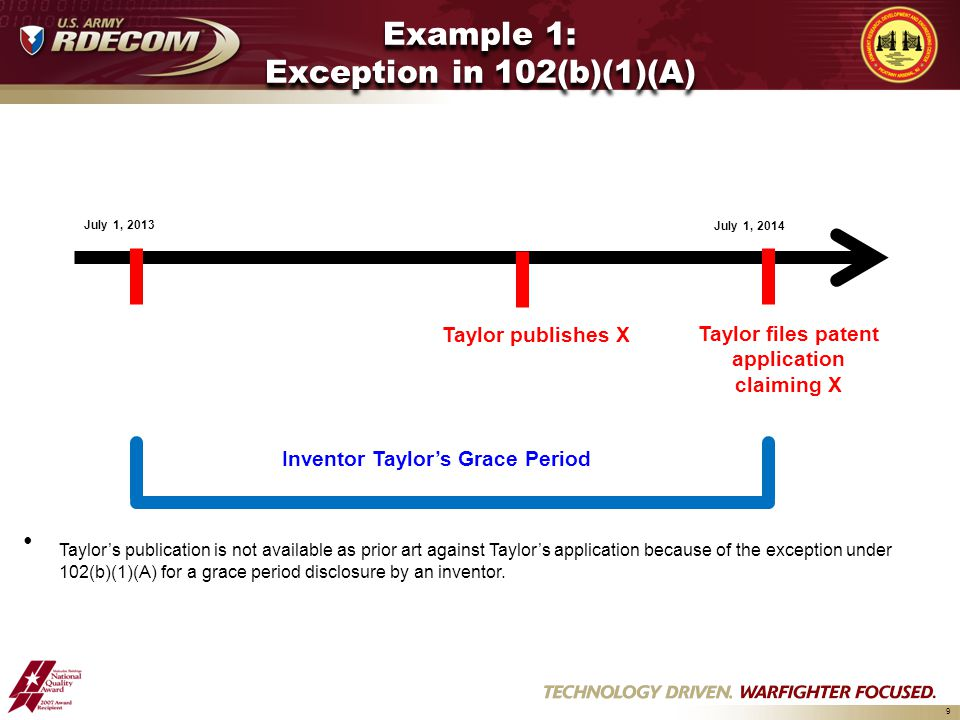9 Example 1: Exception in 102(b)(1)(A) Taylor publishes X Taylor files patent application claiming X July 1, 2013 July 1, 2014 Inventor Taylor's Grace Period Taylor's publication is not available as prior art against Taylor's application because of the exception under 102(b)(1)(A) for a grace period disclosure by an inventor.