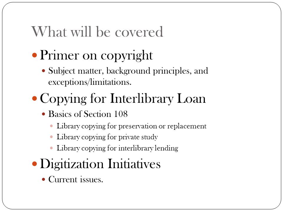 Resources http://www.copyright.gov/records/ Allows a user to search the registry of copyrights.