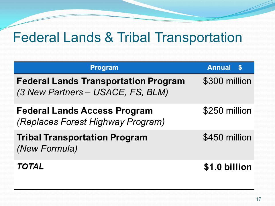 Federal Lands & Tribal Transportation 17 ProgramAnnual $ Federal Lands Transportation Program (3 New Partners – USACE, FS, BLM) $300 million Federal Lands Access Program (Replaces Forest Highway Program) $250 million Tribal Transportation Program (New Formula) $450 million TOTAL $1.0 billion