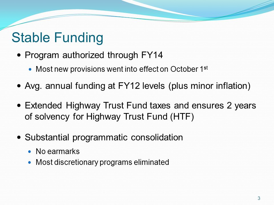 Stable Funding Program authorized through FY14 Most new provisions went into effect on October 1 st Avg.
