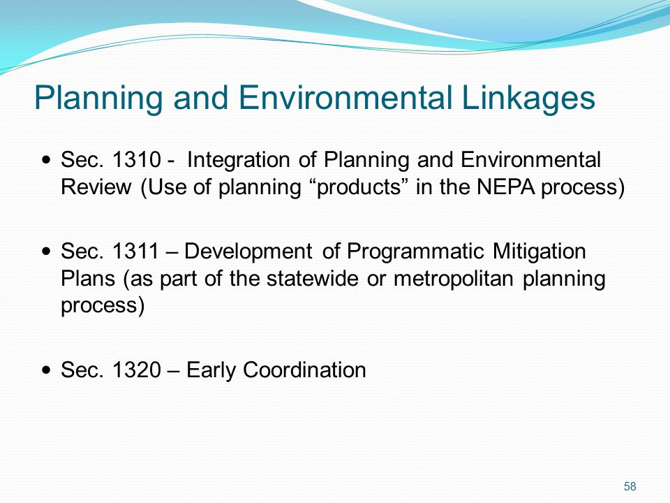 Planning and Environmental Linkages Sec.