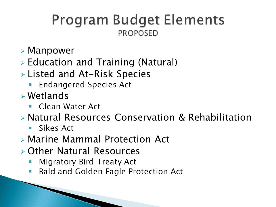  Manpower  Education and Training (Natural)  Listed and At-Risk Species  Endangered Species Act  Wetlands  Clean Water Act  Natural Resources Conservation & Rehabilitation  Sikes Act  Marine Mammal Protection Act  Other Natural Resources  Migratory Bird Treaty Act  Bald and Golden Eagle Protection Act