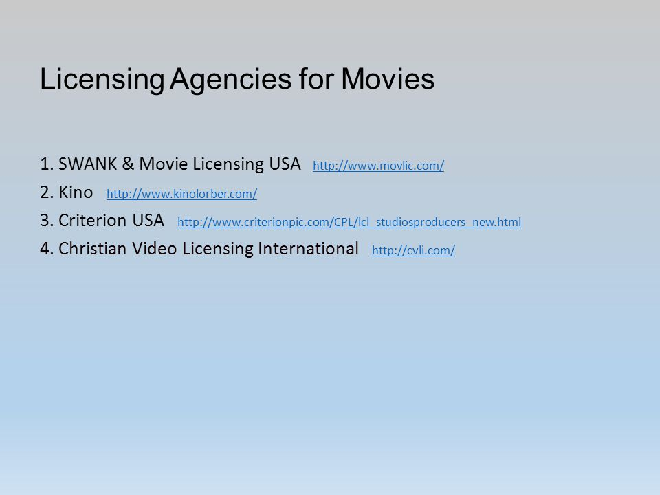 Licensing Agencies for Movies 1.