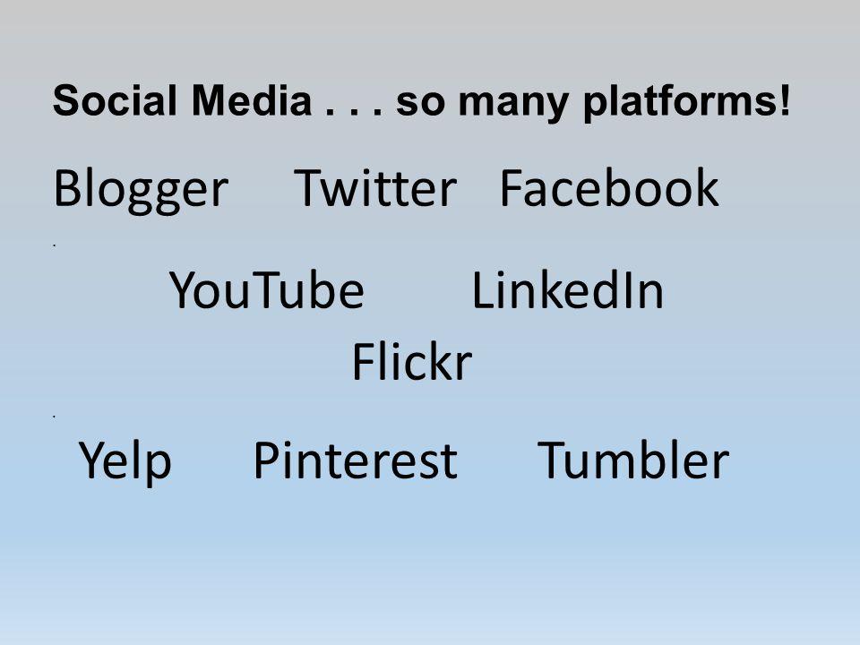 Social Media...so many platforms. Blogger Twitter Facebook.