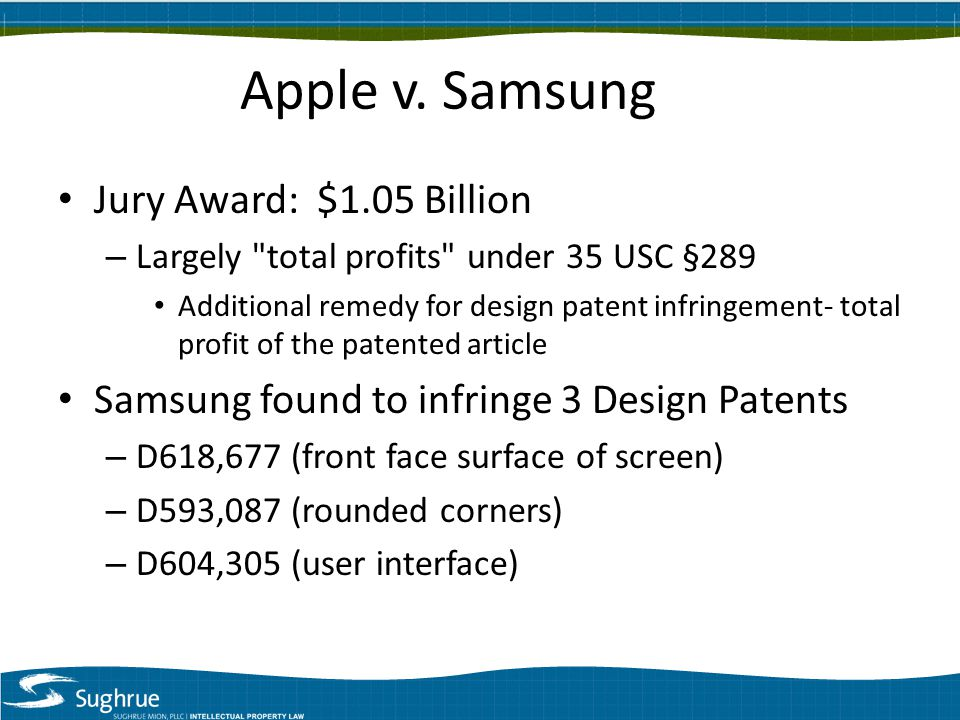 Jury Award: $1.05 Billion – Largely total profits under 35 USC §289 Additional remedy for design patent infringement- total profit of the patented article Samsung found to infringe 3 Design Patents – D618,677 (front face surface of screen) – D593,087 (rounded corners) – D604,305 (user interface)