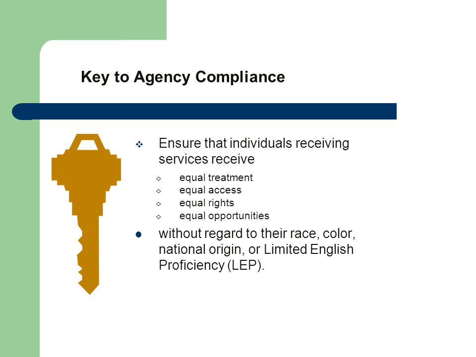 Key to Agency Compliance  Ensure that individuals receiving services receive ◊ equal treatment ◊ equal access ◊ equal rights ◊ equal opportunities without regard to their race, color, national origin, or Limited English Proficiency (LEP).