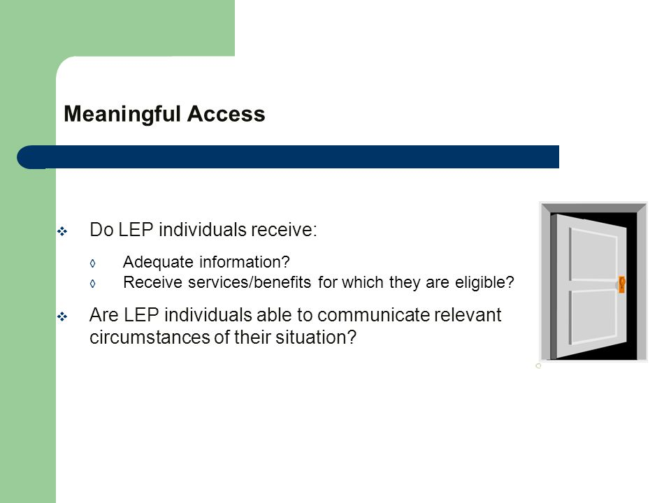 Meaningful Access  Do LEP individuals receive: ◊ Adequate information.