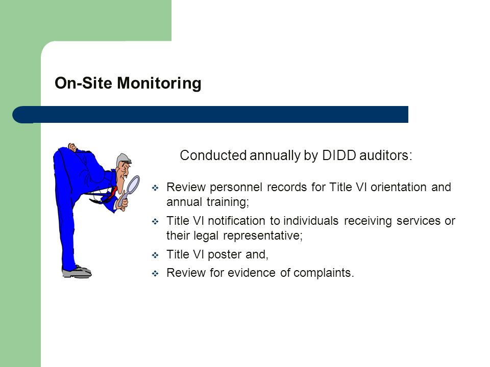 On-Site Monitoring Conducted annually by DIDD auditors:  Review personnel records for Title VI orientation and annual training;  Title VI notification to individuals receiving services or their legal representative;  Title VI poster and,  Review for evidence of complaints.