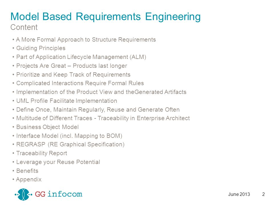 Requirement Engineering (conceptual view) dBOM (Domain Base Types) Solution Architecture Software Engineering Logical DatamodelSolution Arch: UseCase Realization Solution Arch: Deployment Architecture Solution Arch: Other Comp.