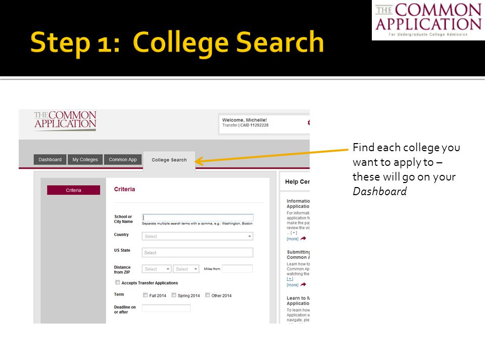 You can click on the My Colleges tab to see contact info, application deadlines, and application fees.