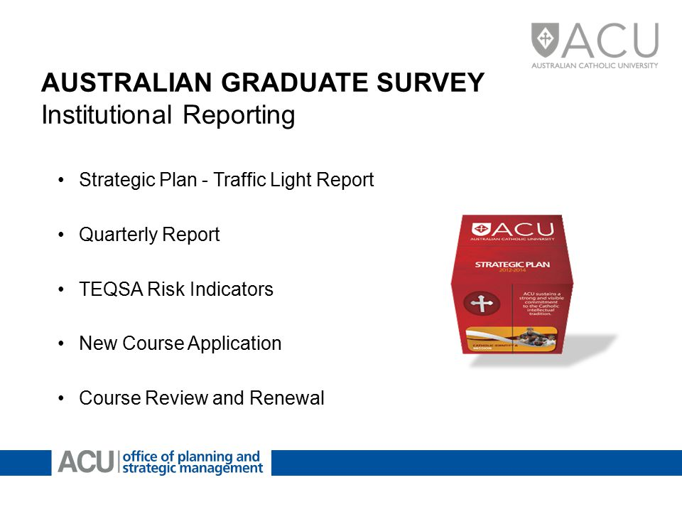 AUSTRALIAN GRADUATE SURVEY Institutional Reporting Strategic Plan - Traffic Light Report Quarterly Report TEQSA Risk Indicators New Course Application Course Review and Renewal