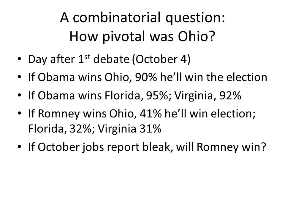 A combinatorial question: How pivotal was Ohio.