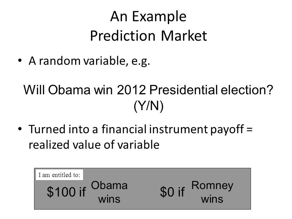 Focal predictions Top singleton securities Federal, 43K FL, 26K OH, 17K VA, 15K CO, 12K Electoral votes, 10K NC, 10K Senate, 8K Top combinatorial securities VA, WI = Dem CO, IN, NH, OH, VA = Dem Fed, OH = Rep OH, VA = Dem FL=Rep, Fed=Dem FL, NC = Rep FL, Fed, OH = Dem NH, NV, OH, VA, WI = Dem