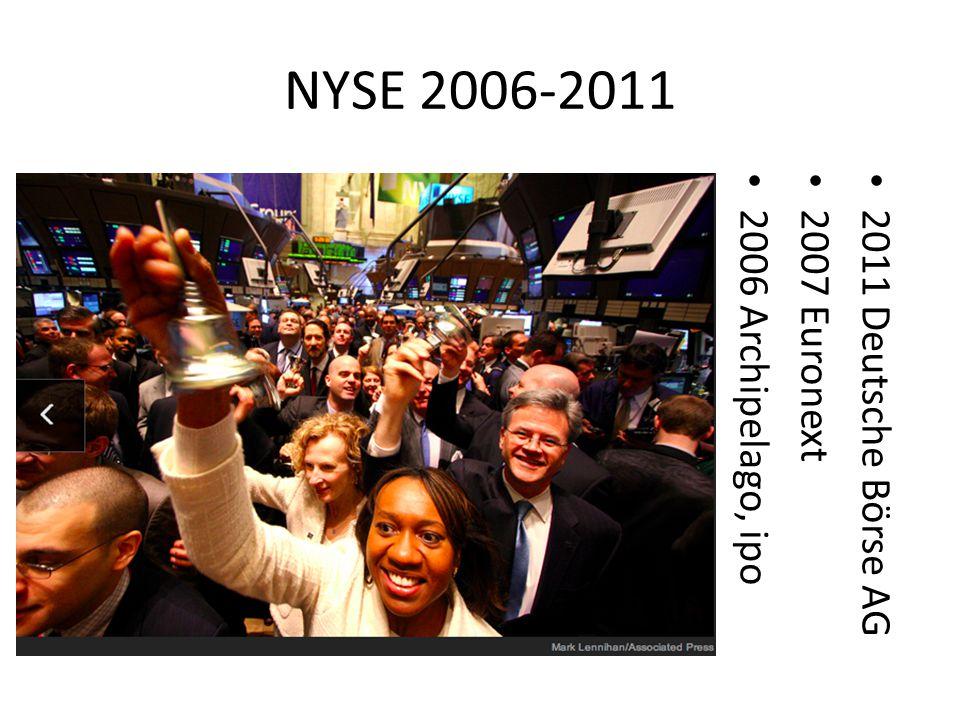 NYSE 2006-2011 2011 Deutsche Börse AG 2007 Euronext 2006 Archipelago, ipo