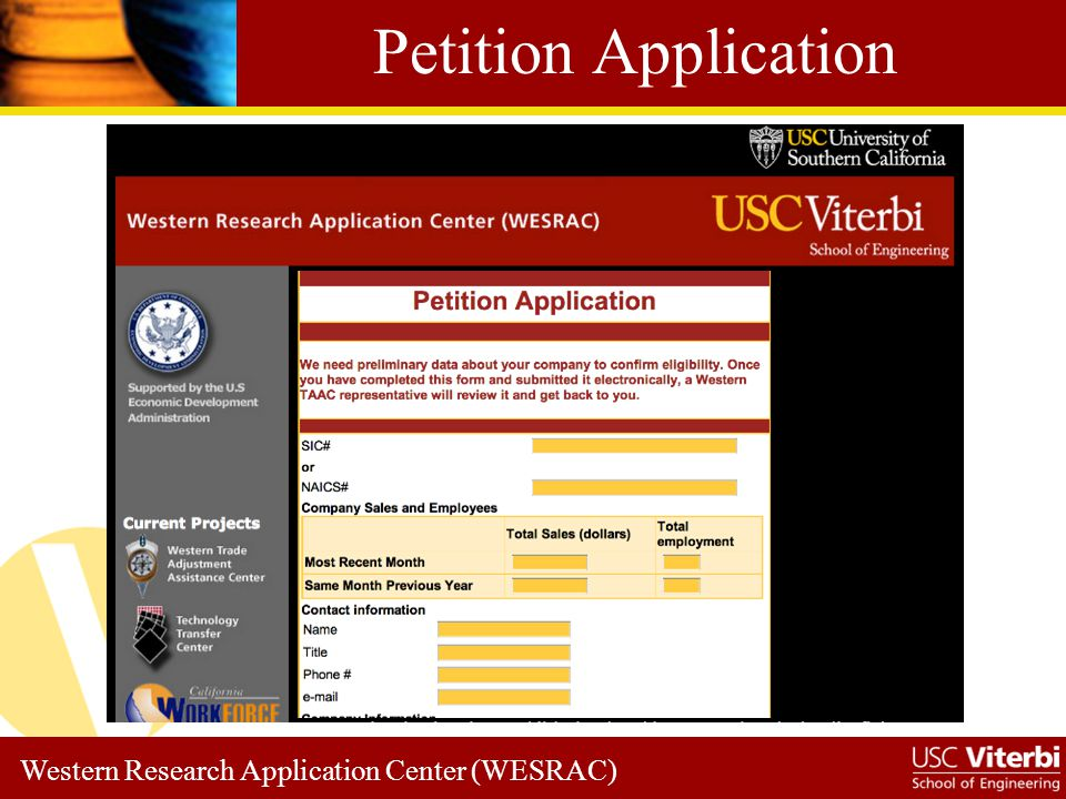 Western Research Application Center (WESRAC) Petition Application