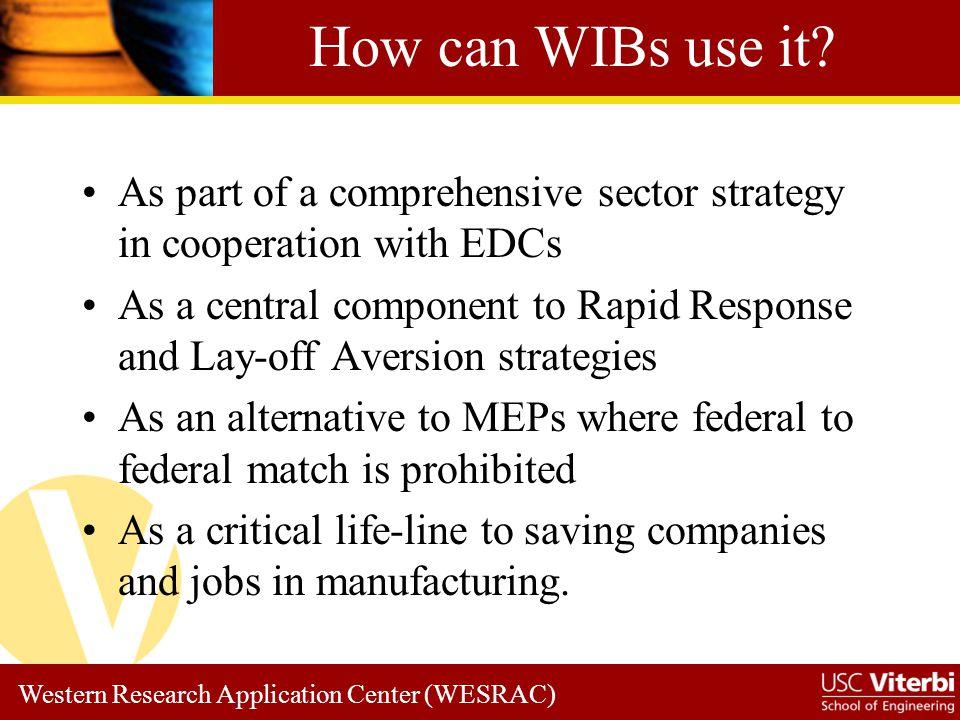 Western Research Application Center (WESRAC) Program Comparison