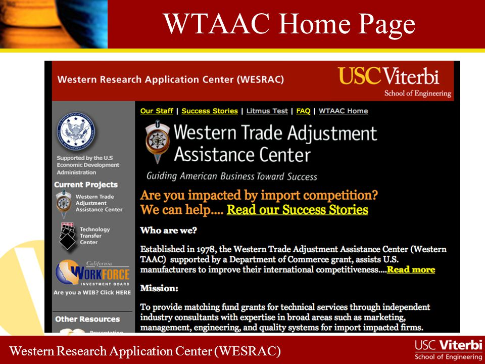 Western Research Application Center (WESRAC) Success Stories