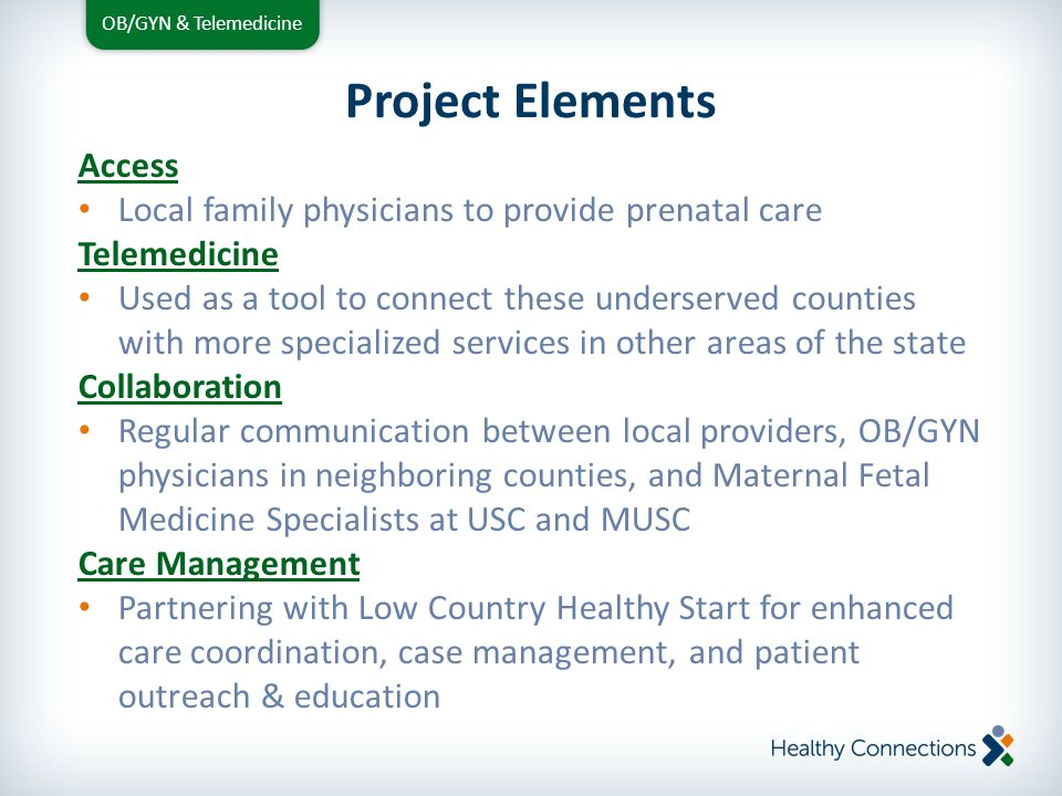 OB/GYN & Telemedicine Family Physicians Provide low-risk prenatal care in county Recommended minimum of two (2) telemedicine encounters per patient Participate in MFM led collaboration sessions as scheduled Regular communication with delivering physician Refer patients to Low Country Healthy Start for enhanced care coordination & management services Participation in LCHS led Multidisciplinary Team meetings Continually educate patients on the use of telemedicine to build comfort and confidence level Project Roles