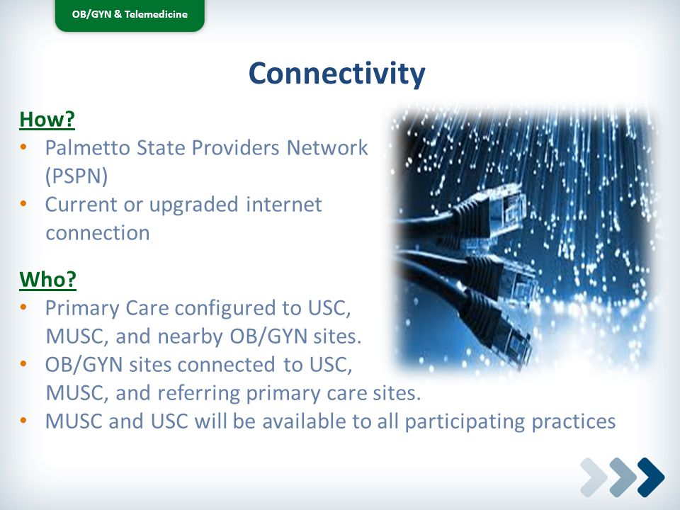 OB/GYN & Telemedicine How? Palmetto State Providers Network (PSPN) Current or upgraded internet connection Connectivity Who? Primary Care configured t