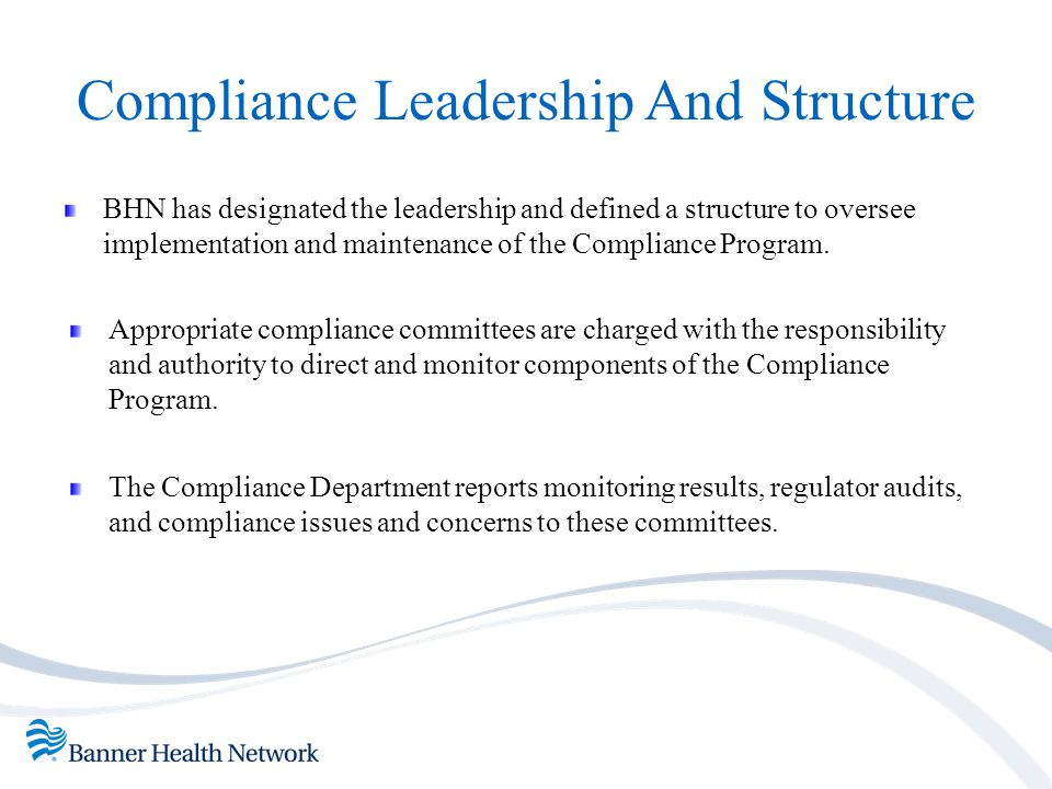 Compliance Leadership And Structure BHN has designated the leadership and defined a structure to oversee implementation and maintenance of the Complia