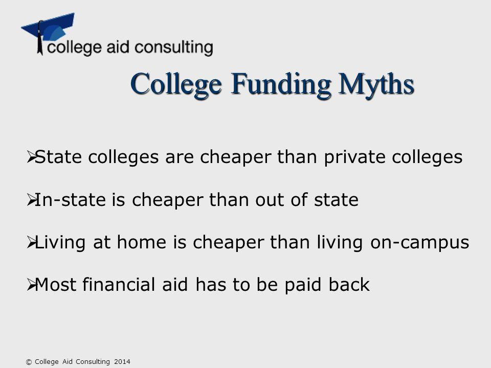College Funding Myths © College Aid Consulting 2014  State colleges are cheaper than private colleges  In-state is cheaper than out of state  Living at home is cheaper than living on-campus  Most financial aid has to be paid back