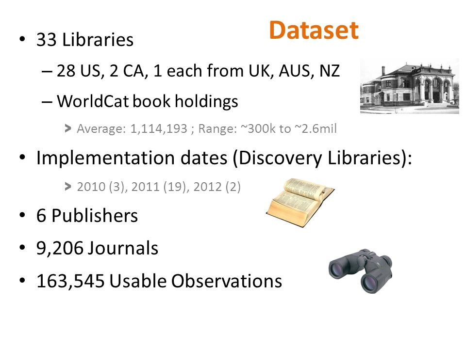 Dataset 33 Libraries – 28 US, 2 CA, 1 each from UK, AUS, NZ – WorldCat book holdings > Average: 1,114,193 ; Range: ~300k to ~2.6mil Implementation dat