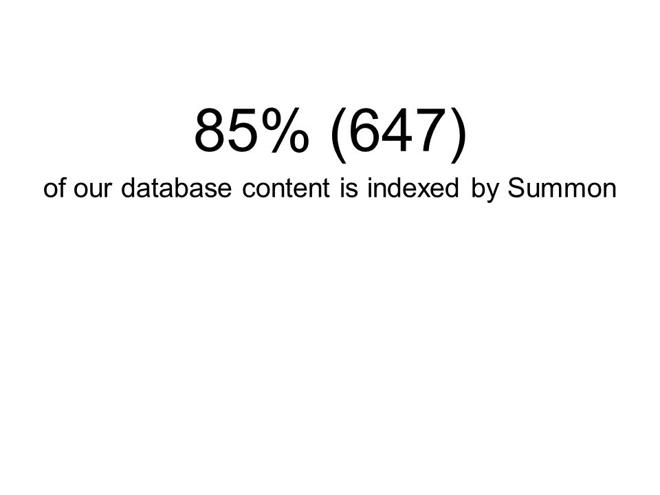 85% (647) of our database content is indexed by Summon