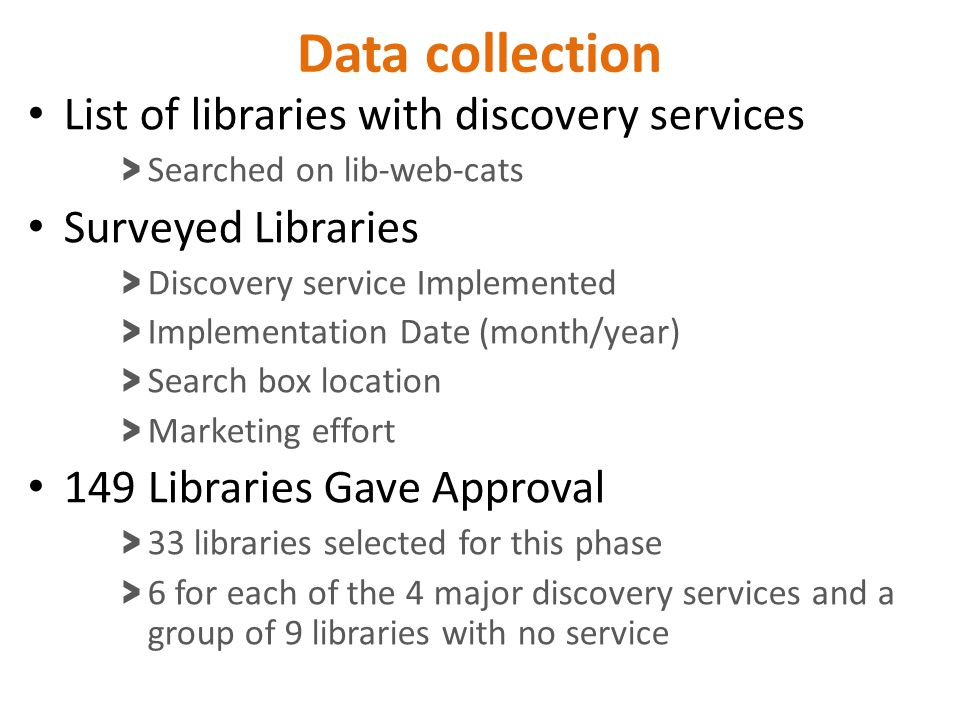 Data collection List of libraries with discovery services > Searched on lib-web-cats Surveyed Libraries > Discovery service Implemented > Implementati