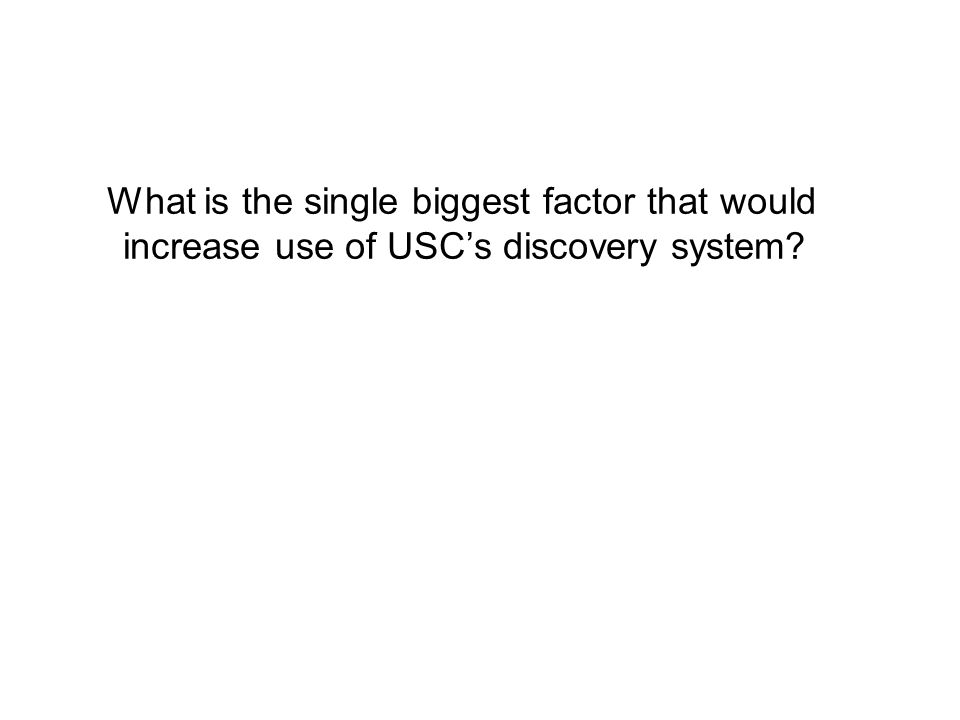 What is the single biggest factor that would increase use of USC's discovery system?