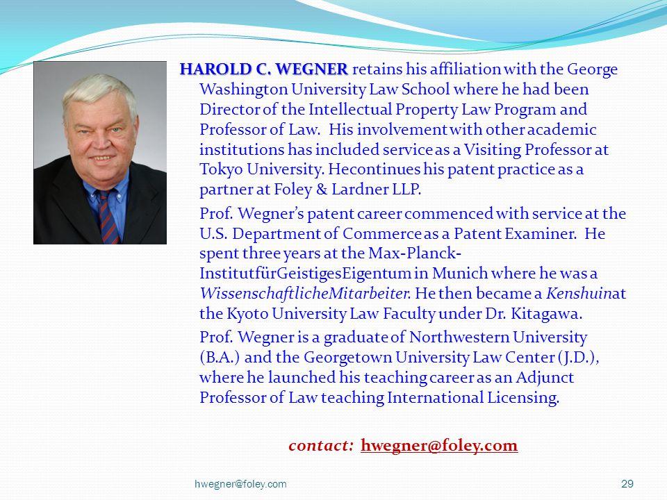HAROLD C. WEGNER HAROLD C.
