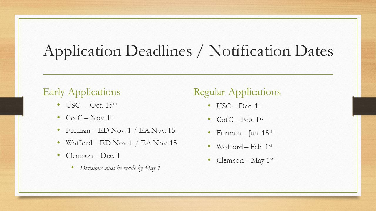 Application Deadlines / Notification Dates Early Applications USC – Oct.