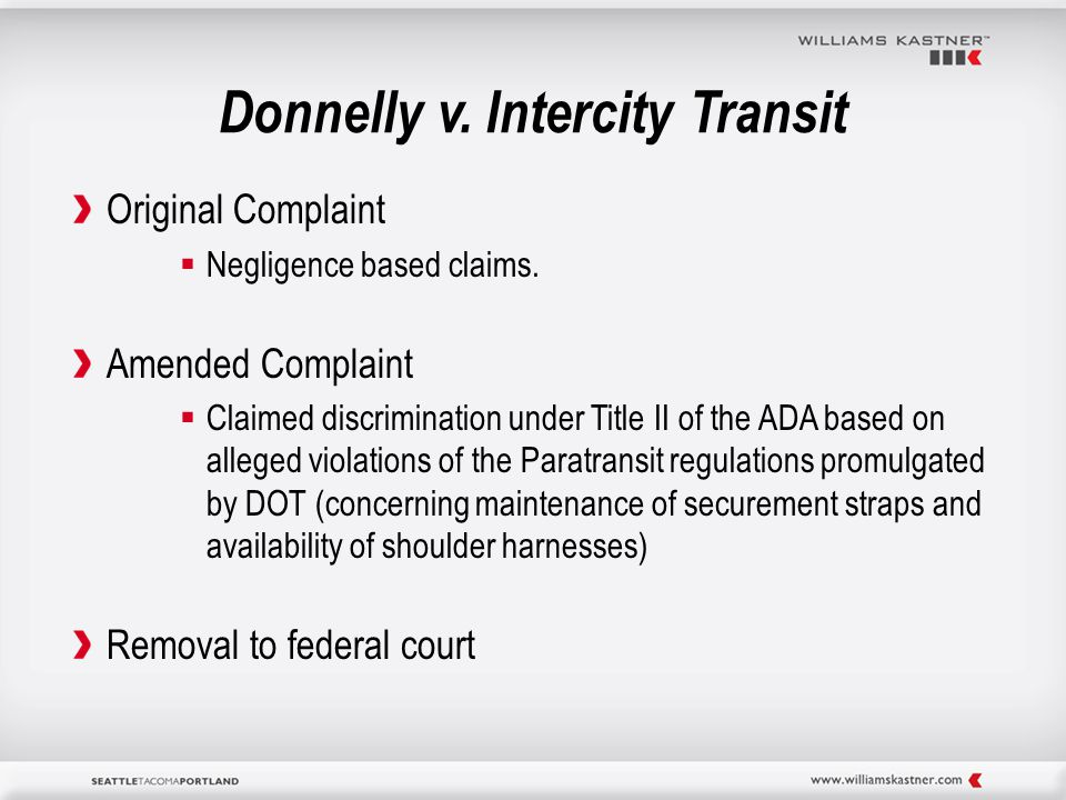 Donnelly v. Intercity Transit Original Complaint  Negligence based claims.