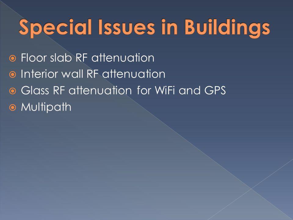  Floor slab RF attenuation  Interior wall RF attenuation  Glass RF attenuation for WiFi and GPS  Multipath